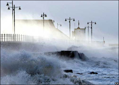 Waves hitting a seafront