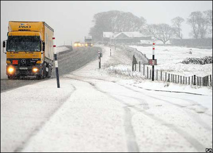 Heavy snow on the A66 in County Durham