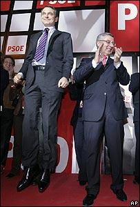 Spain's Prime Minister Jose Luis Rodriguez Zapatero  (left) celebrates victory, 9/03/08