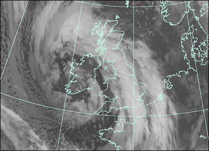Satellite image at 0700 GMT Monday (Courtesy of EUMETSAT/Met Office)