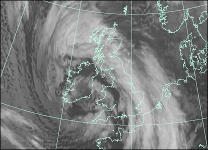 Satellite image at 0900 GMT Monday (Courtesy of EUMETSAT/Met Office)