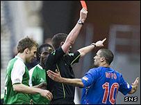 Referee Craig Thomson sends Nacho Novo packing