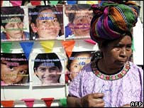 A woman takes part in a demonstration for the elimination of violence against women in Guatemala City on 26 November 2007