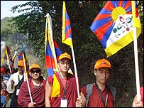 Tibetan monks setting off on their protest march