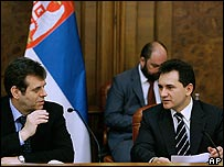 Serbian Prime Minister Vojislav Kostunica, left, and vice-premier Bozidar Djelic, 10/03/08
