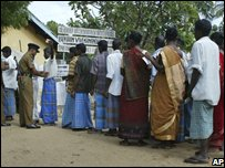 Voters in a suburb of Batticaloa