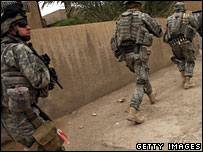 US troops on foot patrol in Baghdad, 10 March 2008