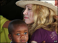 Madonna and her adopted son