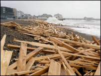 Debris on Worthing beach in Sussex