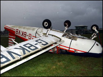 A light aircraft flipped over in the wind at Withybush Airport, Haverfordwest