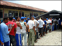 Inmates at a camp holding 600 East Timorese rebel soldiers