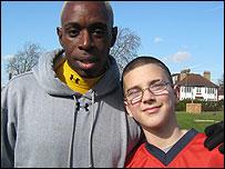 Jamie Lawrence and Nightingale School pupil Jameo