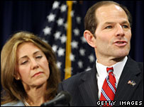 New York Governor Eliot Spitzer (right) with his wife Silda Spitzer, 10 March 2008