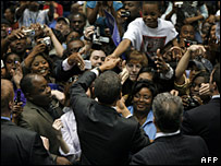 Barack Obama greets supporters during a rally at Jackson State University in Jackson, Mississippi, 10 March 2008