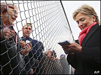 Hillary Clinton greets supporters at Wilkes-Barre Scranton airport in Pennsylvania