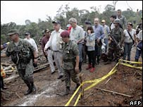 The OAS delegation visits the border area in Ecuador where the attack took place