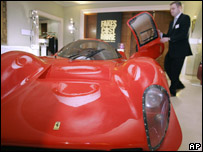 Fake Ferrari unveiled at Brussels anti-piracy exhibition, 10 March 2008