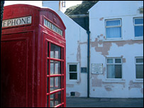 Pennan Inn and red phone box