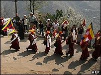 Tibetan marchers in India
