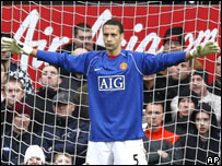 Rio Ferdinand in goal against Portsmouth