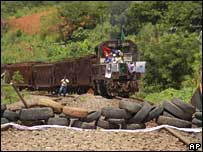 Protesters block the railway line on 10 March in Minas Gerais