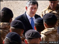 Gordon Brown meets British troops in Afganistant