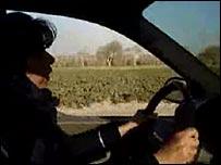 Wajeha Huwaider at the wheel