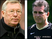 Manchester United boss Sir Alex Ferguson and his assistant Carlos Queiroz