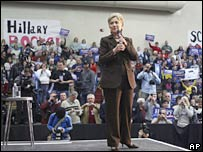 Hillary Clinton campaigning in Pennsylvania, 10 March 2008