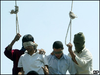 Two Iranian men about to be hanged for homosexual acts in 2005