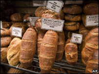 Loaves of bread at a New York bakery