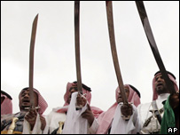 Saudis performing traditional sword dance