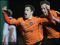 Craig Hughes celebrates the goal that won the FAW Premier Cup
