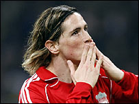 Liverpool's Fernando Torres celebrates his goal against Inter Milan