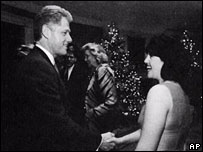 President Bill Clinton and Monica Lewinsky at a Christmas party in 1996