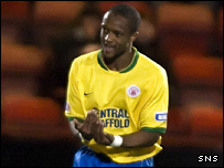 Richard Offiong celebrates his equaliser at East End Park