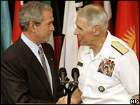 President Bush shakes hands with Admiral William Fallon, 1 May, 2007