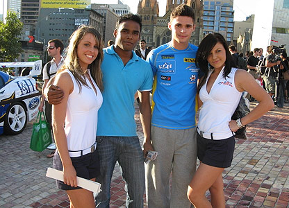 F1 promotion girls with two fans