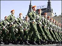 Russian soldiers parade in Red Square in Moscow, 9 May 2006, during celebrations of the end of World War II.
