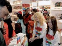 Visitors throng a Russian book stall at a World Book Fair in Delhi