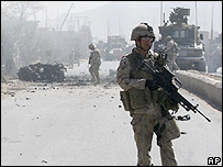 Canadian troops at site of Kandahar blast - 12 March 2008