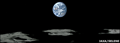 Moon and Earth pictured from Selene