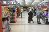 Shoppers in supermarket