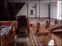 The vandalised interior of Gellionnen Chapel