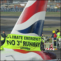 Airport protest. Image: PA
