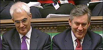 Alistair Darling, left, with predecessor and boss Gordon Brown, right