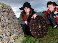 Balloch Primary School pupils in costume at Culloden Battlefield