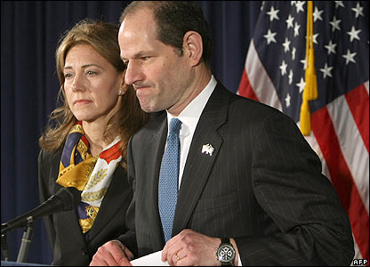 Eliot Spitzer at the resignation news conference in Albany, 12 March 2008