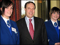 Laura and Emer with Nigel Dodds MLA