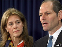 Eliot Spitzer and wife Silda at his resignation 12/3/08